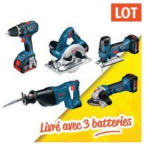 Lot 5 outils sans fil 18 V 4 ah