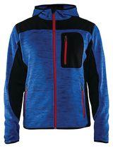 Veste tricotée fashion à capuche Bleu roi / noir