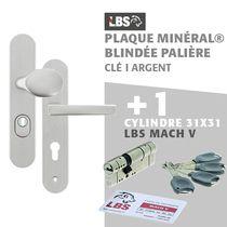 Lot ensemble sur plaque MINERAL blindée palière clé I argent + cylindre MACH V 31x31