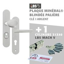Lot ensemble sur plaque MINERAL blindée palière clé I argent + cylindre MACH V 31x40