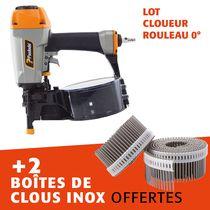 Lot cloueur rouleau 0° CNP65 + 2 boites clous inox 55 mm
