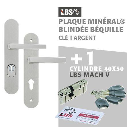 Lot ensemble sur plaque MINERAL blindée béquille clé I argent + cylindre MACH V 40x50